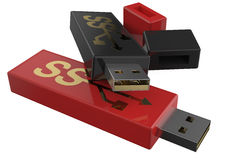 USB flashes drive ss 3.0 red and black Royalty Free Stock Image