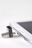 USB flashes drive  3.0 and tablet computer Stock Image