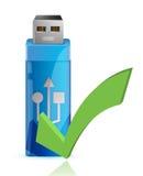 USB-Flitsaandrijving met O.K. teken Stock Afbeelding
