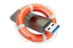 USB-flitsaandrijving met reddingsboei, veiligheidsconcept het 3d teruggeven Stock Foto