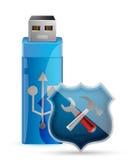 USB-Flitsaandrijving met Schild Royalty-vrije Stock Foto's