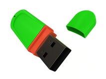 USB flitsaandrijving op witte achtergrond Stock Foto