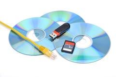 USB-Geheugenstok en CD en Flits en RJ45 Stock Foto