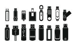 USB-geplaatste de pictogrammen van de flitsaandrijving, eenvoudige stijl vector illustratie