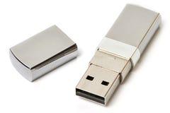USB geïsoleerdea flitsaandrijving Stock Fotografie