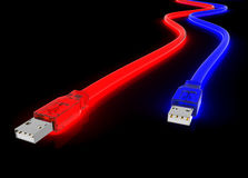 Usb glowing. Red and blue glowing usb cord made of clear plastic Stock Photos