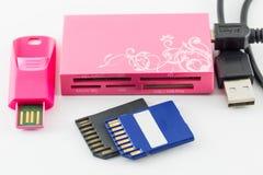 USB: Greller Antriebssatz und Sd-Karte Lizenzfreie Stockbilder