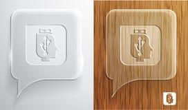 USB-hoofdpictogram op de bel van de glastoespraak. Royalty-vrije Stock Foto's