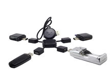 USB  Hub  in the form of the little man Stock Photo