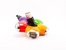 USB-HUB para cuatro entradas de información Imagenes de archivo