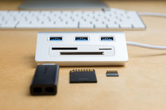 Usb 3.0 hub, universal memory card extender Stock Photos