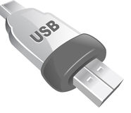 USB Icon. An illustrated icon of a USB pin Stock Photos