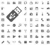 USB icon. Media, Music and Communication vector illustration icon set. Set of universal icons. Set of 64 icons.  Vector Illustration