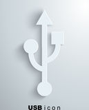 Usb icon, paper background Stock Photography