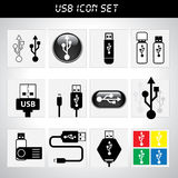 USB icon set. For design stock illustration