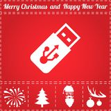 Usb Icon Vector. And bonus symbol for New Year - Santa Claus, Christmas Tree, Firework, Balls on deer antlers Stock Photos