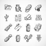 Usb icons set Royalty Free Stock Photos