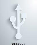 Usb ikona, papierowy tło Ilustracji