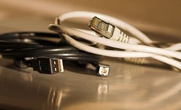 Usb and internet cable. Usb and cat 5 internet connection cable Royalty Free Stock Image
