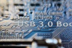 Usb 3 0 iscrizioni sul circuito di micro chip della scheda madre Fotografia Stock Libera da Diritti