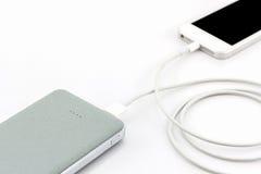 USB-Kabel Bank der grauen Energie für Smartphone Lizenzfreie Stockbilder