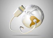 USB kabel levererar data för att gulna Sydamerika på den vita backgroen Vektor Illustrationer