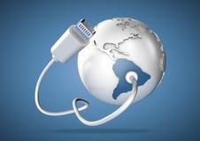USB kabel levererar data till Sydamerika på blå bakgrund Vektor Illustrationer