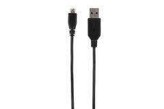 USB kabeldet normala och micro som isoleras på vit Arkivfoton