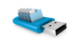 Usb key. One usb key that contains data folders (3d render Stock Photo