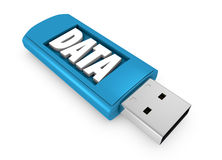Usb key. One usb key that contains data (3d render Royalty Free Stock Photo