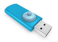Usb key. One usb key with a lock combination, concept of safety (3d render Royalty Free Stock Images