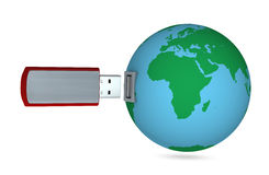 Usb key and planet earth. One 3d render of a usb key connecting to the planet earth Royalty Free Stock Photo