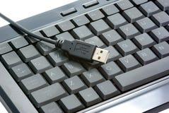 USB keyboard. USB black keyboard isolated on white royalty free stock image