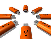 USB keys. 3D orange USB keys isolated on white background Royalty Free Stock Image