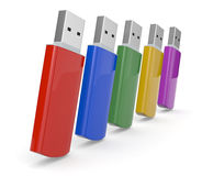 Usb keys. Close up view of usb keys in different colors (3d render Stock Photo