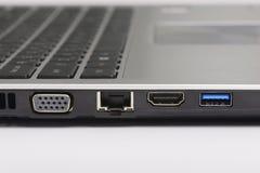 Usb 3 0, LAN et ports graphiques photographie stock libre de droits