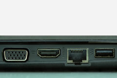 USB 3.0, LAN and graphic ports of laptop Royalty Free Stock Photography