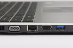 Usb 3 0, LAN y puertos gráficos Fotografía de archivo libre de regalías