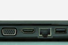 Usb 3 0, LAN y puertos gráficos de ordenador portátil Fotografía de archivo libre de regalías