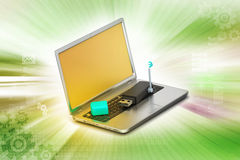 Usb and laptop with internet connection Royalty Free Stock Photography