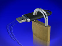 USB lock composite. Composite of lock and usb stick on blue Royalty Free Stock Photography
