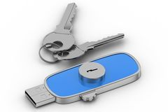 Usb Lock drive and  Keys Royalty Free Stock Images
