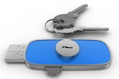 Usb Locking drive and  Keys Stock Images