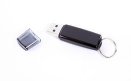 USB memory flash drive. USB flash drive with cap isolated on white Royalty Free Stock Photo