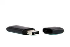 USB Memory Stick. Black USB flash memory stick isolated over white background Stock Images