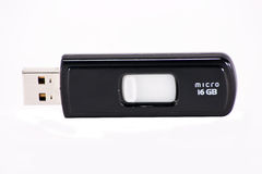 USB memory-stick. Black memory-stick isolated on a white background Stock Image