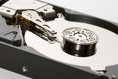 USB memory stick. An open portable storage device showing internal hard drive stock image