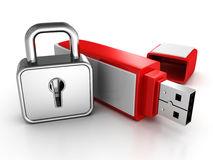 Usb memory stick with locked padlock on white Royalty Free Stock Image