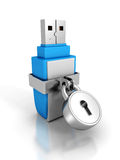 Usb memory stick with locked padlock on white background. 3d render illustration Royalty Free Stock Photos