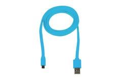 Usb micro del USB-cable azul aislado Fotos de archivo libres de regalías
